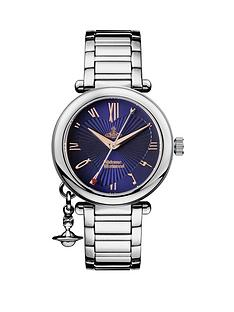 vivienne-westwood-blue-and-rose-gold-heart-detail-charm-dial-stainless-steel-bracelet-ladies-watch-silver-tone