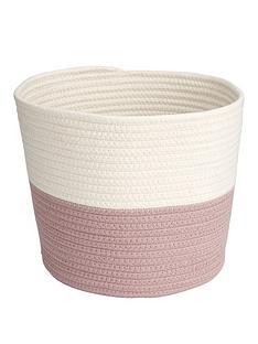 cotton-weaved-two-tone-storage-basket-ndash-pinkwhite