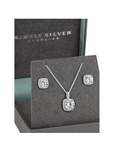 simply-silver-square-halo-jewellery-set