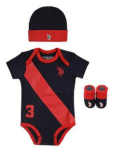 us-polo-assn-baby-boys-players-bodysuit-hat-and-booties-gift-set-navy