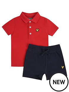 lyle-scott-toddler-boys-polo-and-short-set-red