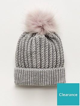 v-by-very-knitted-pom-pom-beanie-grey