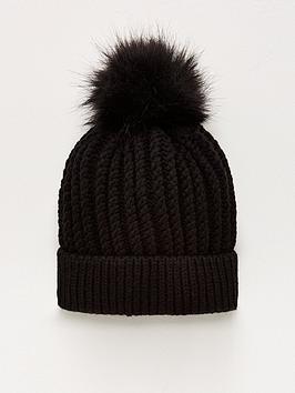 v-by-very-knitted-pom-pom-beanie-black