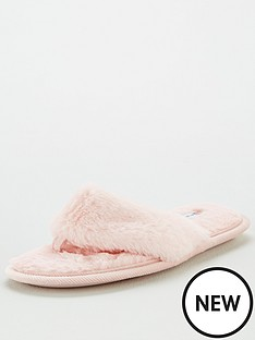 v-by-very-winoa-fauxnbspfur-toe-post-slipper-pink