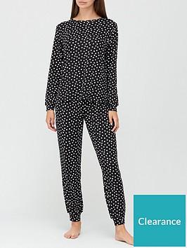 v-by-very-christmasnbspgift-wrap-polka-dot-soft-touch-pyjamas-black
