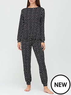 v-by-very-gift-wrap-polka-dot-soft-touch-pyjamas-black