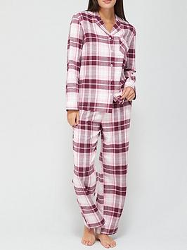 v-by-very-button-through-flannel-pjnbspset-pink-check