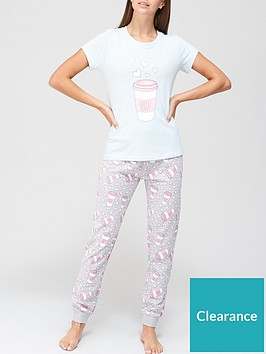 v-by-very-coffee-graphic-jersey-pj-set-pink