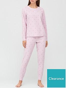 v-by-very-christmasnbspgift-wrapnbspheart-print-waffle-fleece-pyjamasnbsp--pink