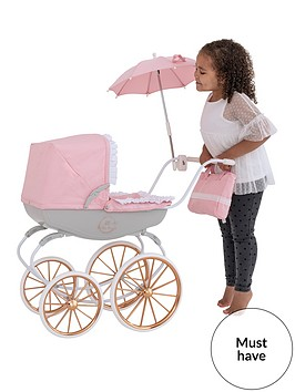 bella-rosa-carriage-pram-bundlewith-rose-gold-wheels-frill-edge-to-hood