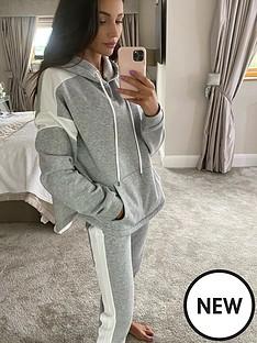 michelle-keegan-colour-block-jersey-hoodie-greywhite
