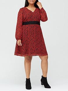 v-by-very-curve-lace-insert-tea-dress-red