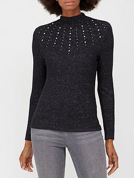 v-by-very-snit-pearl-turtle-neck-charcoal