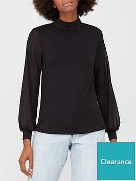 v-by-very-chiffon-sleeve-turtle-neck-top