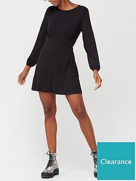 v-by-very-volume-sleeve-jersey-mini-dress-black