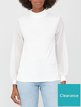 v-by-very-chiffon-sleeve-turtle-neck-top-off-white