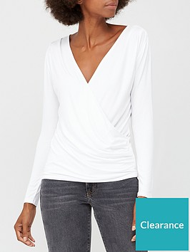 v-by-very-long-sleeve-gathered-wrap-top-white