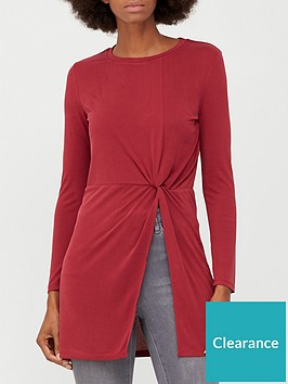 v-by-very-soft-touch-twist-detail-tunic-red