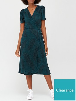 v-by-very-plisse-short-sleeve-wrap-midi-dress-green