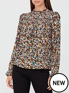 v-by-very-long-sleeve-shirred-top-ditsy-floral