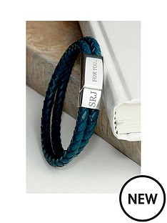 personalised-mens-dual-leather-woven-bracelet-in-teal