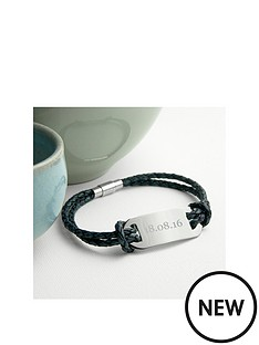 personalised-mens-statement-leather-bracelet-in-navy