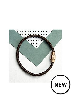 personalised-mens-woven-leather-bracelet-with-gold-clasp