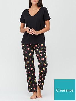 v-by-very-v-neck-floral-pocket-jersey-pyjama-set-black