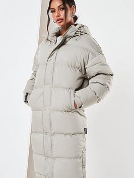 missguided-longline-padded-coat-sage