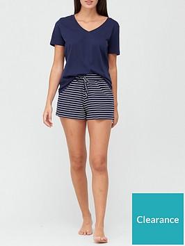 v-by-very-v-neck-cotton-short-set-navy