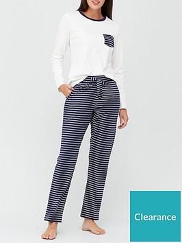 v-by-very-pocket-stripe-jersey-pj-set-navy