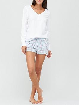 v-by-very-henley-long-sleeve-top-amp-short-pyjamanbspset-blue