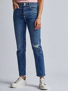 dorothy-perkins-rip-knee-mid-rise-slim-jean-indigo