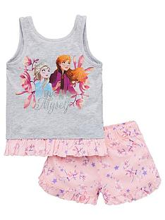 disney-frozen-girlsnbsptrue-to-myself-vest-shorty-pyjamas-grey