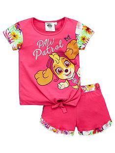 paw-patrol-girlsnbspcontrast-floral-tie-top-shorty-pyjamas-pink