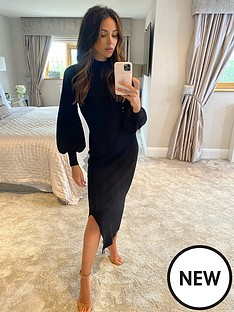michelle-keegan-compact-knit-midi-dress-black