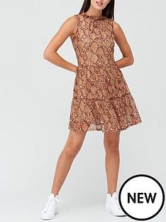 v-by-very-tiered-mesh-mini-dress-snake-print