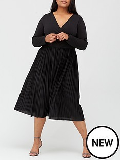 v-by-very-curve-pleated-skirt-wrap-dress-black