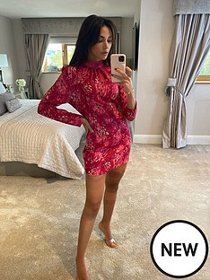 michelle-keegan-high-neck-printed-midi-dress