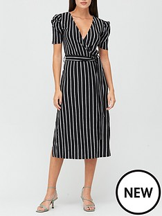 v-by-very-wrap-tie-side-midi-dress-stripe