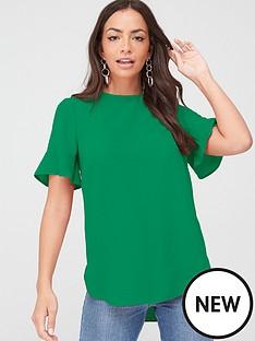 v-by-very-ruffle-sleeve-shell-top-green