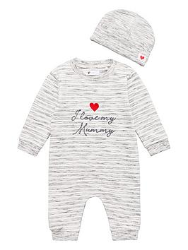 v-by-very-unisex-i-love-mummy-romper-and-hat-grey