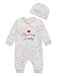 v-by-very-unisex-i-love-daddy-romper-and-hat-grey