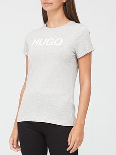 hugo-logo-slim-t-shirt-grey