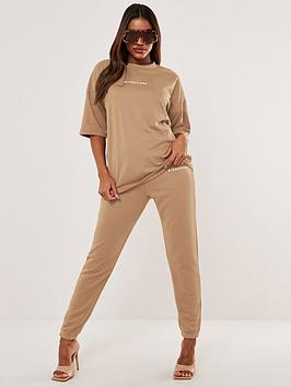 missguided-missguided-oversized-t-shirt-jogger-set-beige