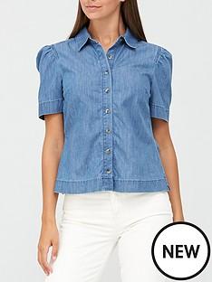 v-by-very-shortnbsppuff-sleeve-denim-shirt-blue