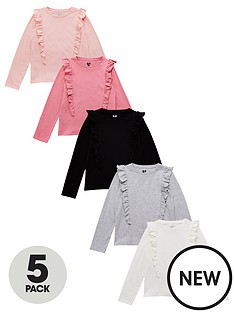 v-by-very-girlsnbspruffle-long-sleeve-t-shirts-5-pack-multinbsp