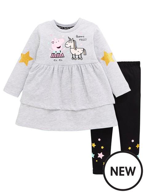 peppa-pig-girls-2nbsppiece-unicorn-dress-and-legging-set-multi