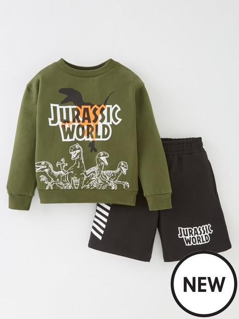 jurassic-park-boys-jurassic-world-t-rex-sweatshirt-and-shorts-setnbsp--khaki