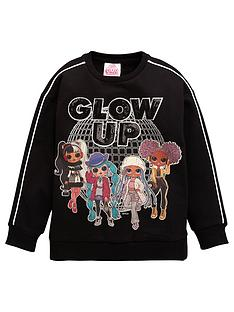 lol-surprise-girls-omg-glow-up-sweatshirt-with-side-splits-black